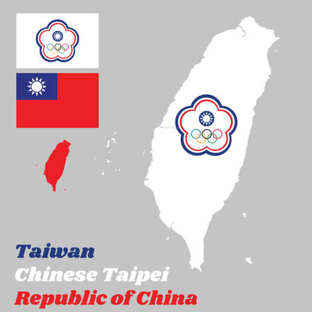 Map outline of Taiwan or Chinese Taipei, The Chinese Taipei Olympic flag and flag of the Republic of China, with text Republic of China.