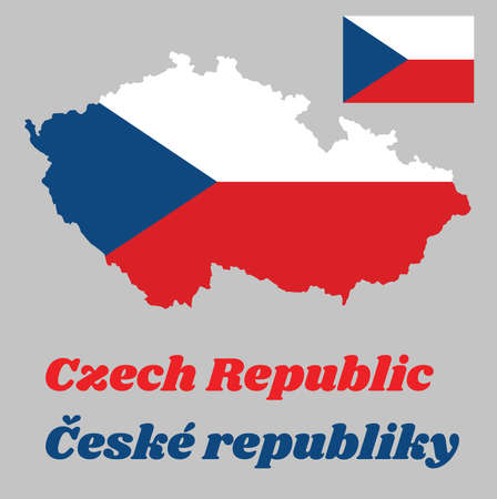 Map outline and flag of Czech Republic, two equal horizontal bands of white (top) and red with a blue isosceles triangle based on the hoist side. with name text Ceske republic. Ilustração