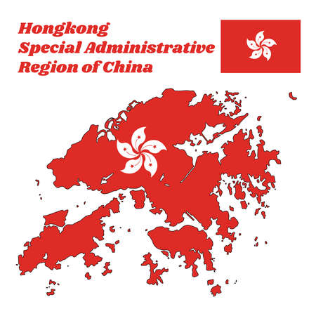 Map Outline And Flag Of Hongkong A Stylised White Five Petal