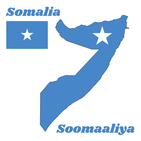 Map outline and flag of Somalia, a single white five-pointed star centered on a light blue field. with name text Soomaaliya.