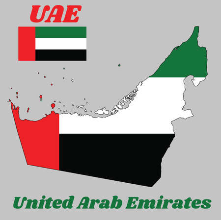 Map outline and flag of UAE, a A horizontal tricolor of green, white and black with a vertical one fourth width red bar at the hoist, and name text United Arab Emirates.  イラスト・ベクター素材