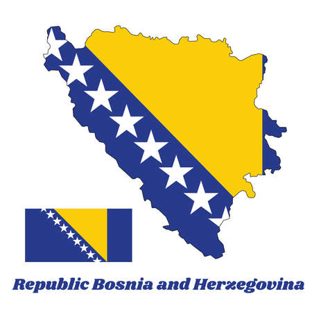 Map outline and flag of Bosnia,  a yellow right triangle and white stars and two half stars top and bottom on blue. with name text Republic Bosnia and Herzegovina.
