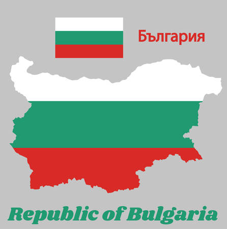 Map outline and flag of Bulgaria,  a horizontal tricolor of white, green and red. with name text Republic of Bulgaria.
