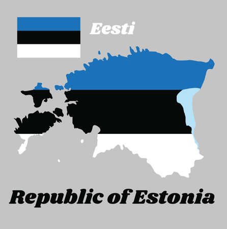 Map outline and flag of Estonia,  a horizontal triband of blue, black and white. with name text Republic of Estonia.