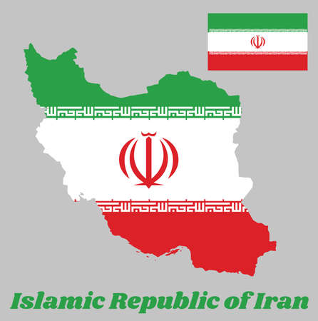 Map outline and flag of Iran, a orizontal tricolor of green, white and red with the National Emblem in red centre and the Takbir written in the Kufic script in white, and name text Islamic Republic of Iran.