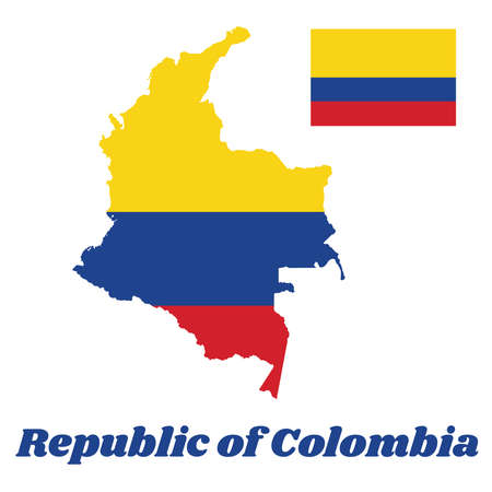 Map outline of Colombia, a horizontal tricolor of yellow (double-width), blue and red, text name Republic of Colombia.