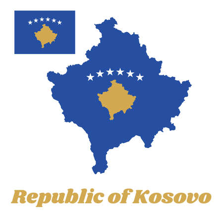 Map outline and flag of Kosovo, a blue field charged with a map of Kosovo in gold, surmounted by an arc of six, white five-pointed stars, in the centre. with name text Republic of Kosovo.