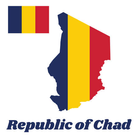 Map outline and flag of Chad, A vertical tricolor of blue, gold, and red. with name text Republic of Chad.