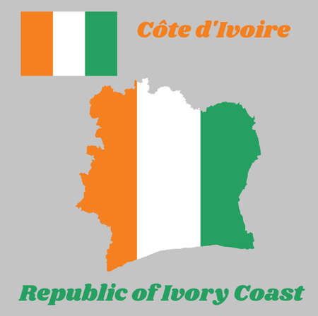 Map outline and flag of Ivory Coast , A vertical tricolor of orange, white, and green. with name text Republic of Ivory Coast.