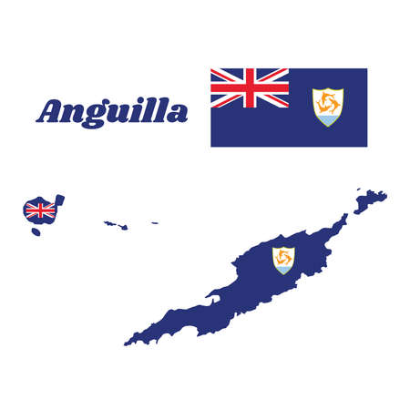 Map outline and flag of Anguilla, Blue Ensign with the British flag in the canton, charged with the coat of arms of Anguilla in the fly. with name text Anguilla.