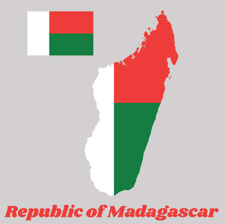 Map outline and flag of Madagascar, Two horizontal bands of red and green with a white vertical band on the hoist side. with name text Republic of Madagascar. Ilustração Vetorial