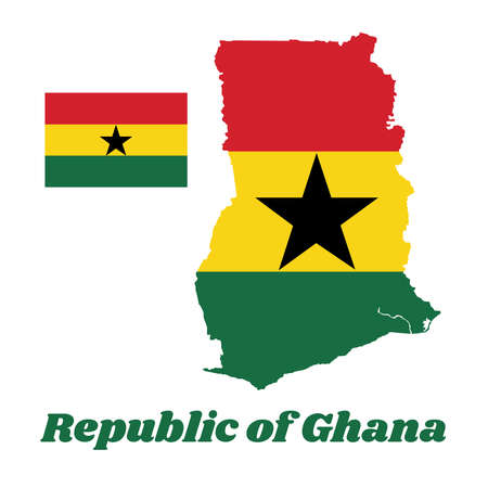 Map outline and flag of Ghana, A horizontal triband of red, gold, and green, charged with a black star in the centre. with name text Republic of Ghana.