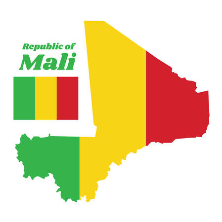 Map outline and flag of Mali, A vertical tricolor of green, gold and red. with name text Republic of Mali. Illustration