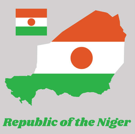 Map outline and flag of Niger, A horizontal triband of orange, white and green; charged with an orange circle in the centre. with name text Republic of the Niger. Illusztráció