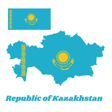 Map outline and flag of Kazakhstan, A gold sun above golden steppe eagle on blue field. The hoist side displays a national ornamental pattern