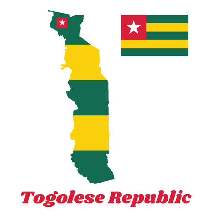 Map outline and flag of Togo, Five equal horizontal bands of green alternating with yellow; with a red canton bearing a white star. with name text Togolese Republic.