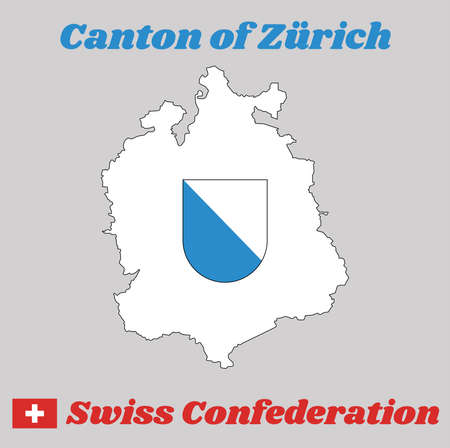 Map outline and Coat of arms of Zurich, The canton of Switzerland with name text Canton of Zurich and Swiss Confederation.