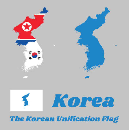 Map outline of North Korea, South Korea and Korean Peninsula  and flag of the both with The Korean Unification Flag, when North and South Korea participate as one team in sporting events.