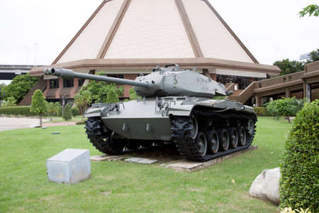 Lam Luk Ka, Pathumthani,Thailand November 5, 2017: Decommission tank of Thai Army place outdoor at National Memorial to commemorate next Generation. M41 A1 Walker Bulldog tank, American light tank for World War II. developed for armed reconnaissance purpo