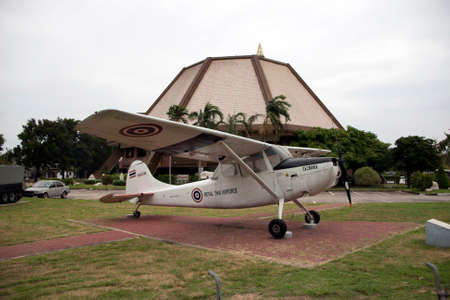 Lam Luk Ka, Pathumthani,Thailand November 5, 2017: Decommission Plane of Thai Army place outdoor at National Memorial to commemorate next Generation. Cessna O-1 Bird Dog was a liaison and observation aircraft.