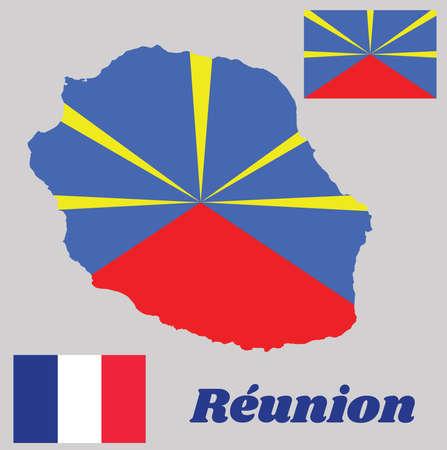 Zarys mapy i flaga zjazdu, flaga państwowa i flaga narodowa. z tekstem nazwy Reunion.