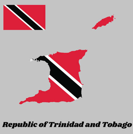 Map outline and flag of Trinidad and Tobago. A red field with a white-edged black diagonal band from the upper hoist-side to the lower fly-side. with name text Republic of Trinidad and Tobago.
