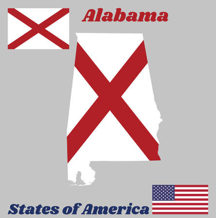 Map outline and flag of Alabama, The states of America,  Red St. Andrews saltire in a field of white. With American flag. Çizim