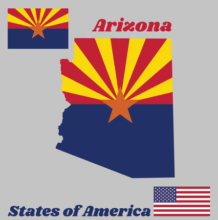 Map outline and flag of Arizona, red and weld-yellow on the top half, with star and the rest of the flag is colored blue with American flag.