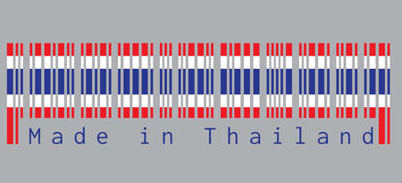 Barcode set the color of Thai flag, blue red and white color in grey background with text: Made in Thailand. concept of sale or business.