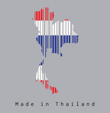Barcode set the shape to Thai map outline and the color of Thai flag on grey background with text: Made in Thailand. concept of sale or business. Illustration