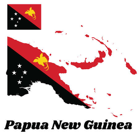 Map outline and flag of Papua New Guinea, triangle is red with the soaring Raggiana Bird of Paradise and the lower triangle is black with the Southern Cross of white star. with name text Papua New Guinea.