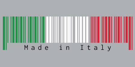 Barcode set the color of Italy flag,  green white and red color with text: Made in Italy. concept of sale or business. Illustration
