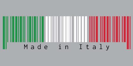 Barcode stelt de kleur in van de vlag van Italië, groen, wit en rood met tekst: Made in Italy. concept van verkoop of bedrijf.