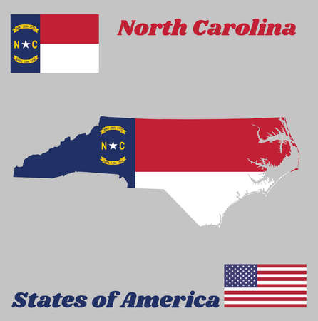 Map outline and flag of North Carolina, A blue union, a white star with N and C, the circle containing the same to be one-third the width of the union. With American flag.