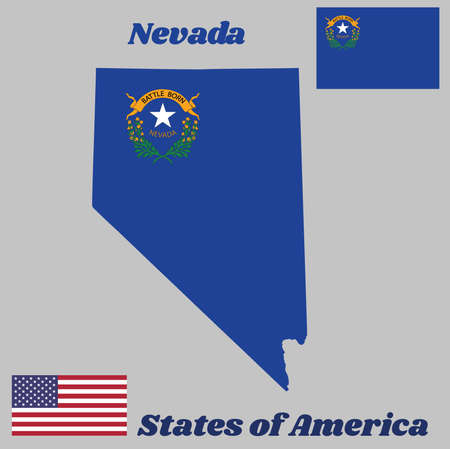 Map outline and flag of Nevada, Solid cobalt blue field. The canton contains two sagebrush branches encircling a silver star with the text Nevada and Battle Born. With American flag.