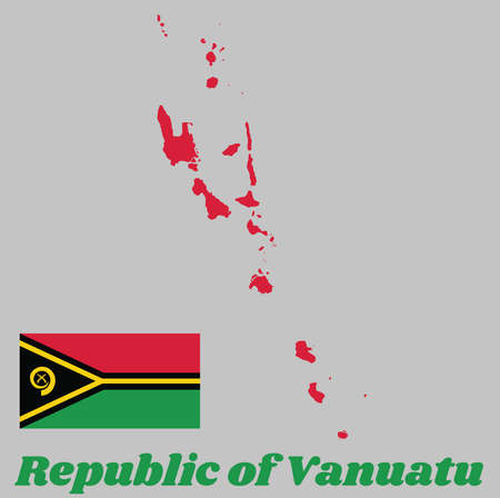 Map outline and flag of Vanuatu, red and green with black and yellow color boar's tusk encircling two crossed fern fronds in the center and the golden pall. with name text Republic of Vanuatu.