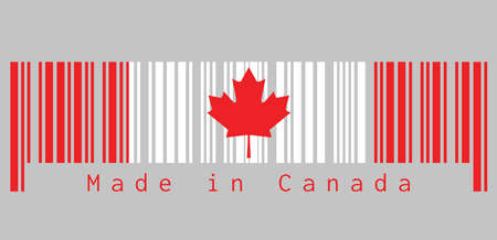 Barcode set the color of Canada flag,  a vertical triband of red and white with the red maple leaf with text: Made in Canada. concept of sale or business.