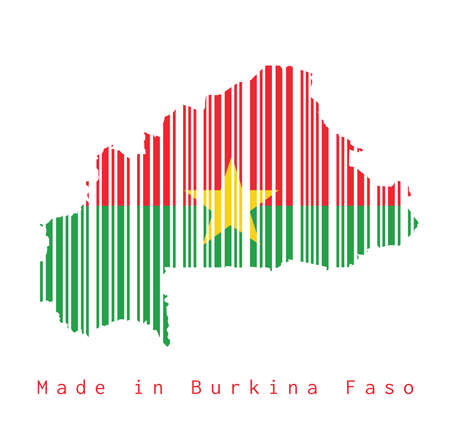 Barcode set the shape to Burkina Faso map outline and flag color on white background. concept of sale or business.