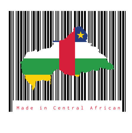 Map outline and flag of Central African on black barcode with white background, text: Made in Central African. concept of sale or business.
