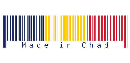 Barcode set the color of Chad flag, A vertical tricolor of blue, gold, and red on white background, text: Made in Chad. concept of sale or business.
