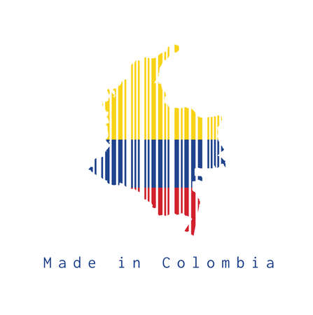 Barcode set the shape to Colombia map outline and flag color on white background, text: Made in Colombia. concept of sale or business.