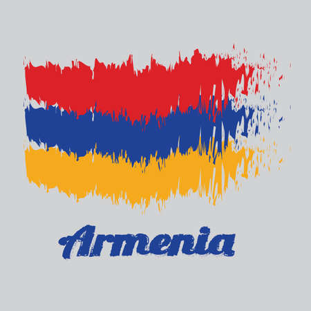 Brush style color flag of Armenia, a horizontal tricolor of red, blue, and orange. with name text Armenia.