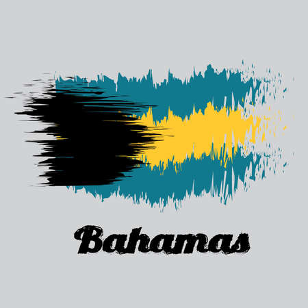 Brush style color flag of Bahamas, a horizontal triband of aquamarine (top and bottom) and gold with the black chevron aligned to the hoist-side, text Bahamas.