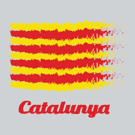 Brush style color flag of Catalonia, The red stripe on golden background. with name text Catalunya.