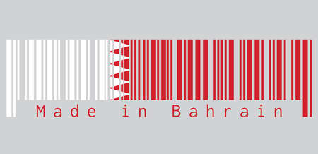 Barcode set the color of Bahrain flag, five white triangles in the form of zigzag on red field, grey background, text: Made in Bahrain. concept of sale or business.
