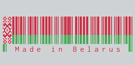 Barcode set the color of Belarus flag, red over green color with a red ornamental pattern on grey background, text: Made in Belarus. concept of sale or business.