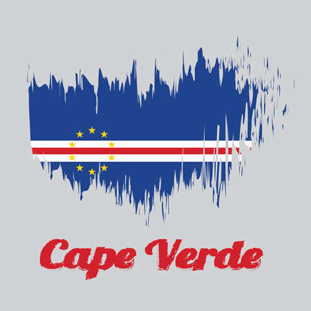 Brush style color flag of Cape Verde, blue white and red color with the circle of ten star. with name text Cape Verde. Vectores