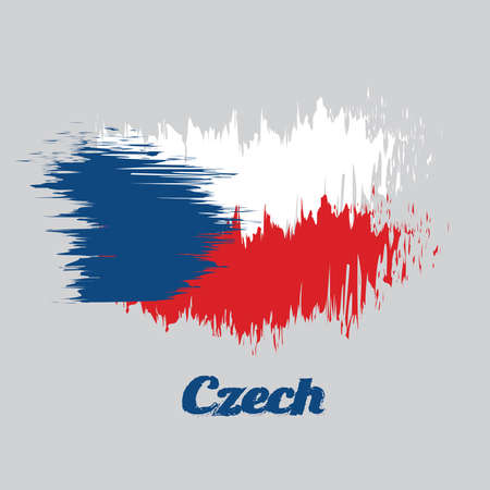 Brush style color flag of Czech Republic, two equal horizontal of white and red with a blue  triangle on the hoist side. with name text Czech.