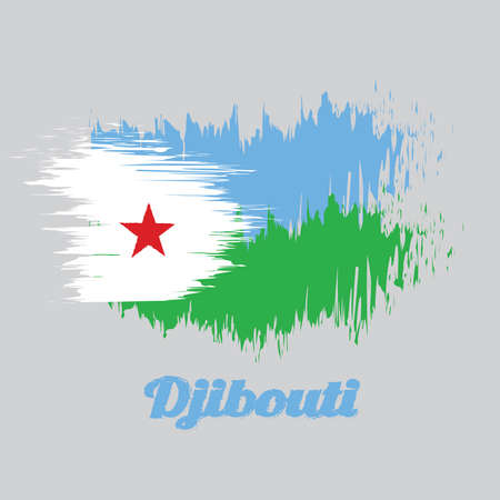 Brush style color flag of Djibouti, a horizontal light blue and light green with a white triangle at the hoist bearing a red star. with name text Djibouti.