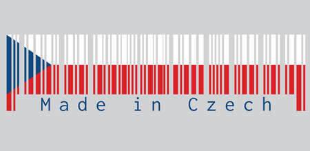 Barcode set the color of Czech flag, two equal horizontal of white and red with a blue triangle on the hoist side. text: Made in Czech. concept of sale or business.